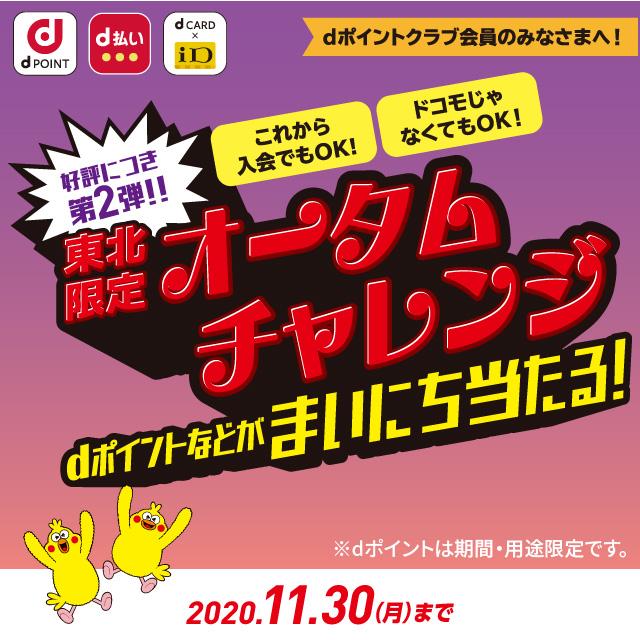 【dポイント】東北限定 オータムチャレンジ
